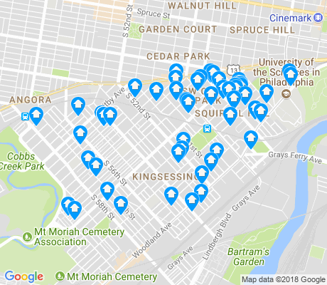 map of Kingsessing apartments for rent