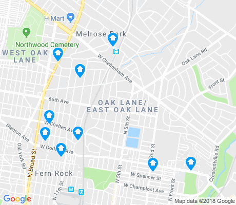 map of Oak Lane - East Oak Lane apartments for rent