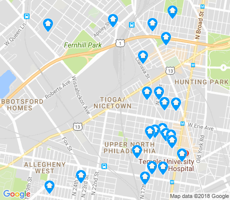 map of Tioga - Nicetown apartments for rent