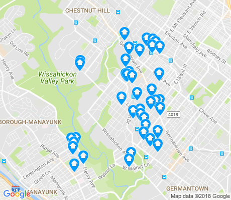 map of West Mount Airy apartments for rent