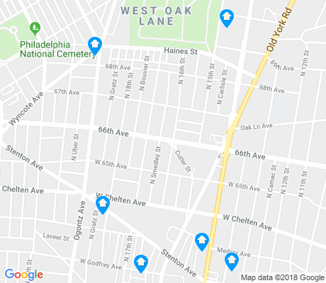 map of West Oak Lane apartments for rent
