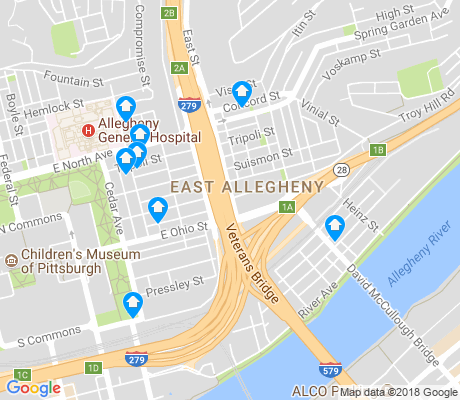 map of East Allegheny apartments for rent