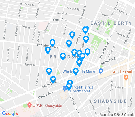 map of Friendship apartments for rent