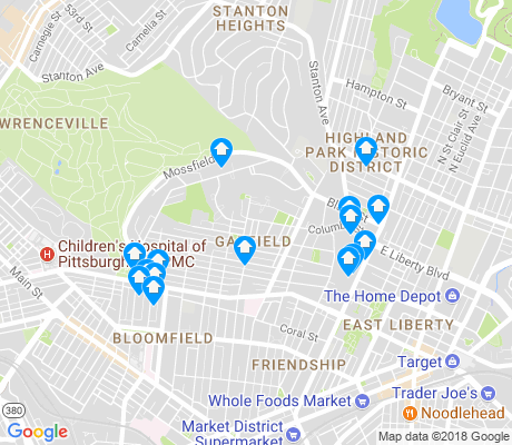 map of Garfield apartments for rent
