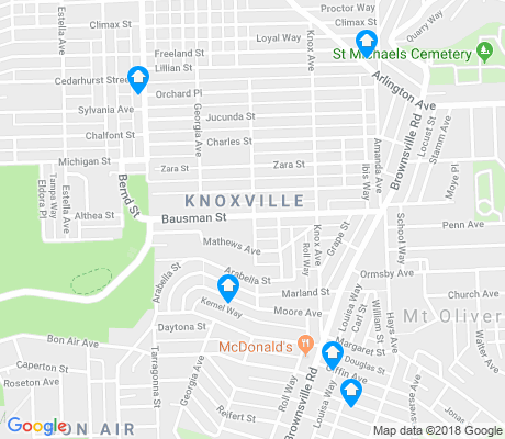 map of Knoxville apartments for rent