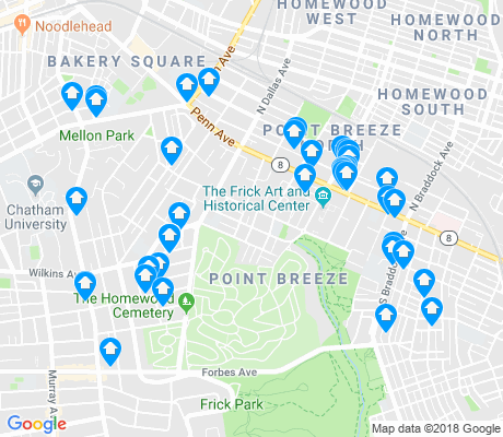 map of Point Breeze apartments for rent