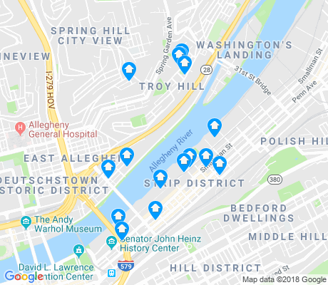 map of Strip District apartments for rent
