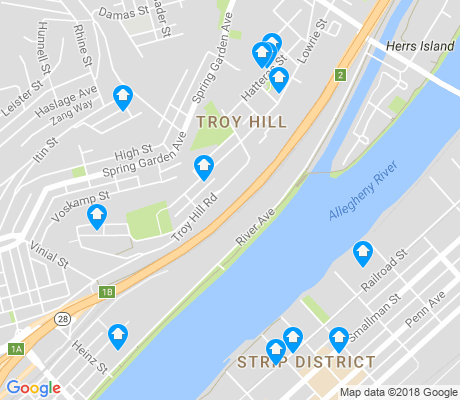 map of Troy Hill apartments for rent