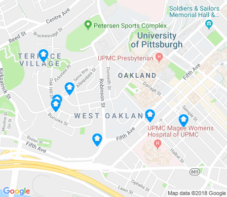 map of West Oakland apartments for rent