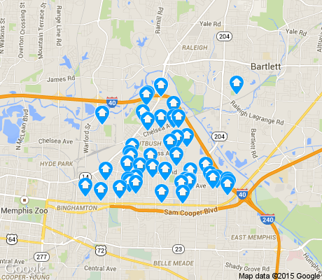 map of Berclair-Highland Heights apartments for rent