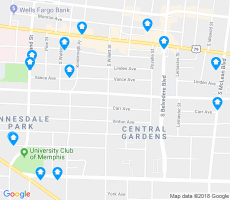 map of Central Gardens apartments for rent
