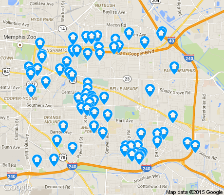 map of East Memphis-Colonial-Yorkshire apartments for rent