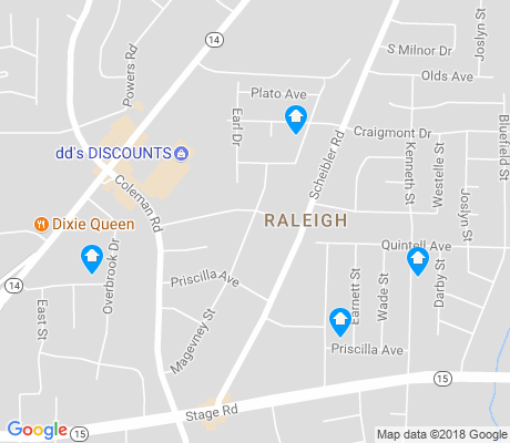 map of Raleigh-Ridge Park apartments for rent