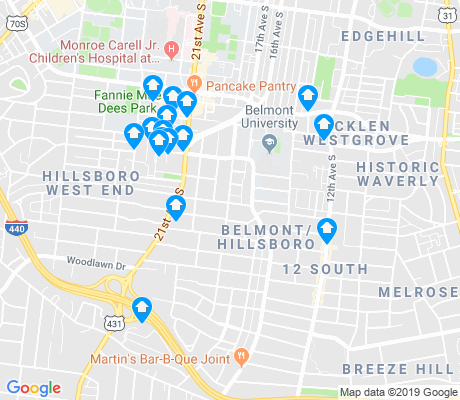 map of Bellmont-Hillsboro apartments for rent