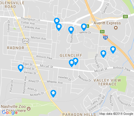 map of Glencliff apartments for rent