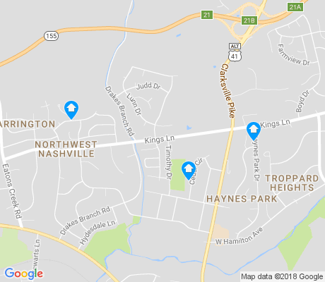 map of Northwest Nashville apartments for rent