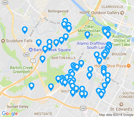 map of Barton Hills apartments for rent