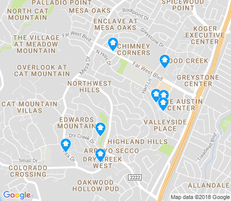 map of Northwest Hills - Far West apartments for rent
