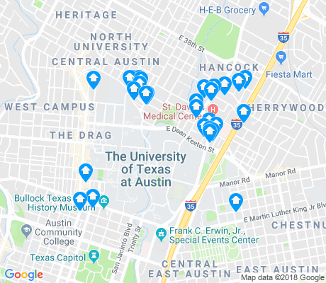 map of University of Texas-Austin apartments for rent