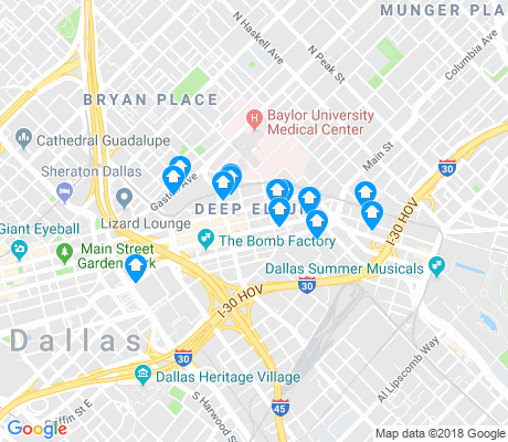 map of Deep Ellum apartments for rent