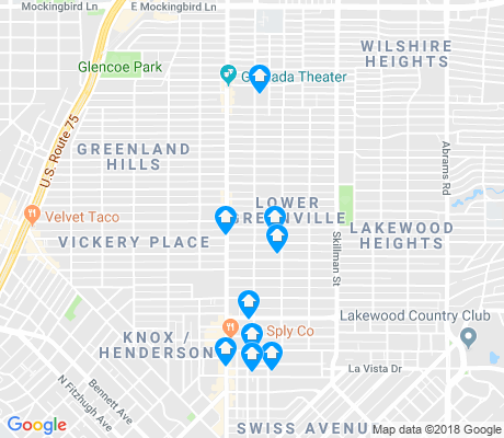 map of Lower Greenville apartments for rent