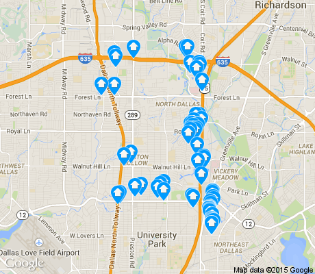 map of North Dallas apartments for rent
