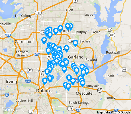 map of Northeast Dallas apartments for rent