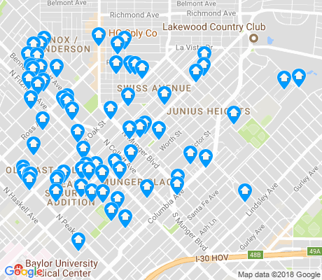 map of Old East Dallas apartments for rent