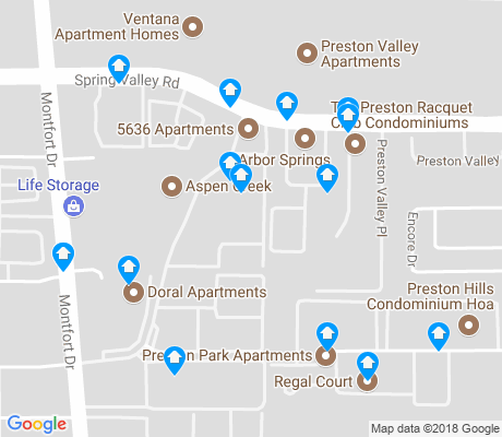 map of Preston Hills apartments for rent