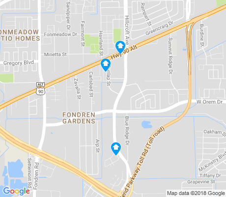 map of Fondren Gardens apartments for rent