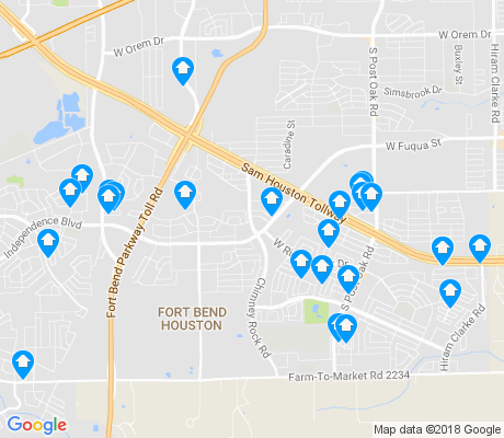 map of Fort Bend Houston apartments for rent