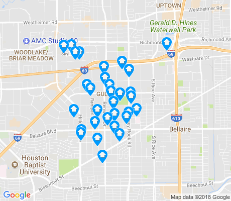 map of Gulfton apartments for rent