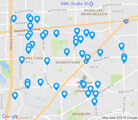 map of Sharpstown apartments for rent