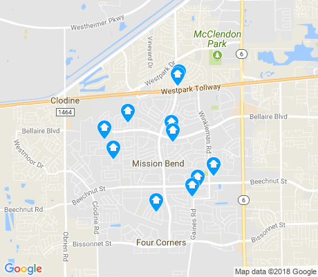 map of Mission Bend apartments for rent