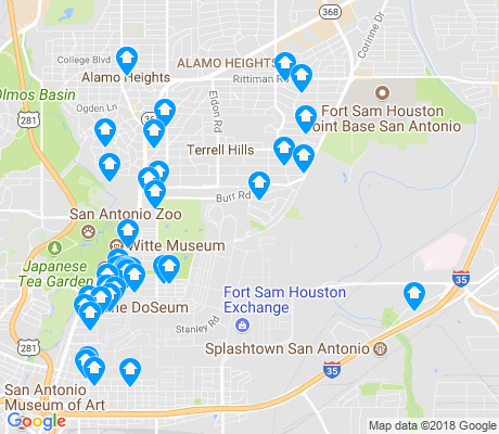 map of Fort Sam Houston apartments for rent