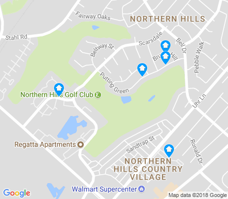 map of Northern Hills apartments for rent