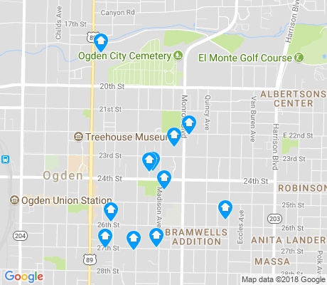 map of East Central Ogden apartments for rent
