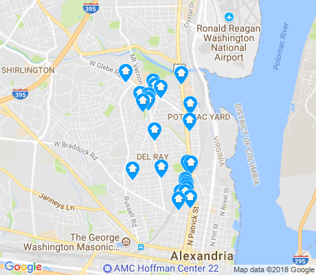map of Del Ray apartments for rent
