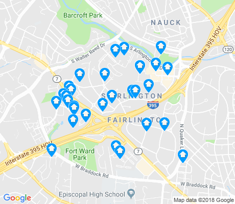 map of Fairlington - Shirlington apartments for rent