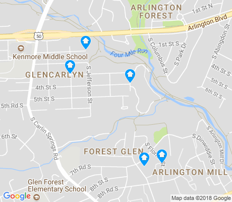 map of Glencarlyn apartments for rent