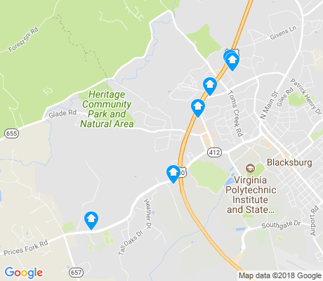 map of Tom's Creek apartments for rent