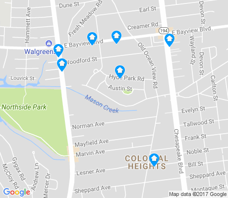 map of Colonial Heights-Hyde Park apartments for rent