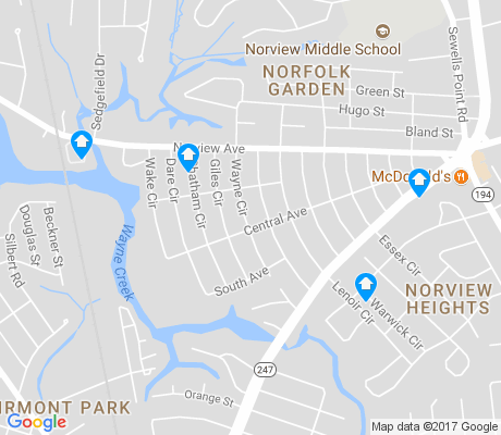 map of Norview apartments for rent