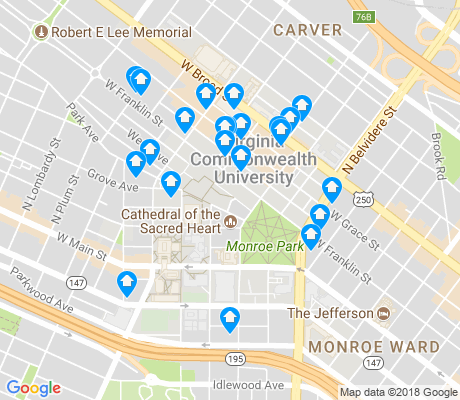 map of VCU apartments for rent