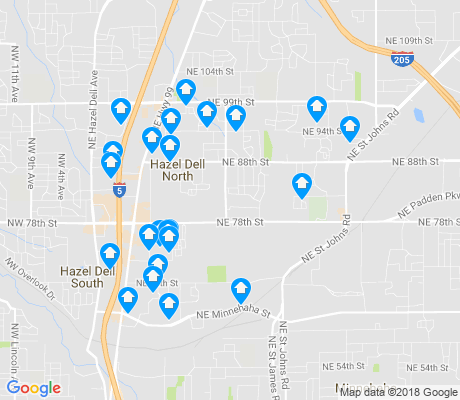 map of Northeast Hazel Dell apartments for rent