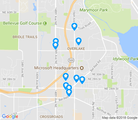 map of Overlake apartments for rent