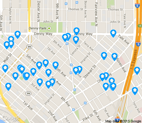 map of Denny Triangle apartments for rent