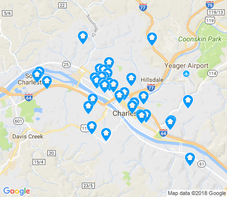 map of Charleston apartments for rent