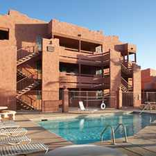 Rental info for 1 Bdrm 1 Bath Luxury -- central heat & air, individual hot water heater, in-unit outside storage/laundry room, full size washer & dryer, cable, fitness, dog & cat friendly, large patio/balcony