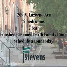 Rental info for 209 N. Luzerne Ave in the Patterson Park area